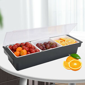 Bar Top Food Condiment Dispenser 3 Tray Plastic Garnish Station With Lid Home