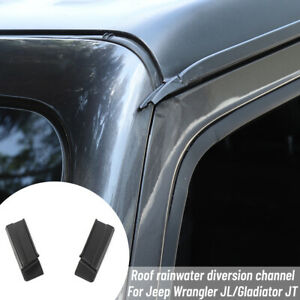 2x Roof Hard top Rain Diverter Rain Gutter Extension For Jeep Wrangler Jl 2018