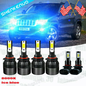 For Jeep Grand Cherokee 1999 2004 C9 8000k Led Headlight Fog Light Bulbs Kit