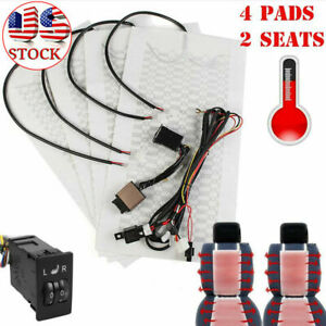 Universal Carbon Fiber 12v Car Seat Heater 5 Level Switch Heating Pad Cover Kit