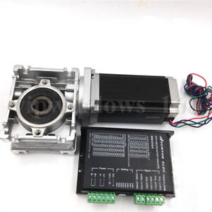 Single Axis Nema23 1 1nm Stepper Motor Driver L56mm worm Gearbox Speed Reducer