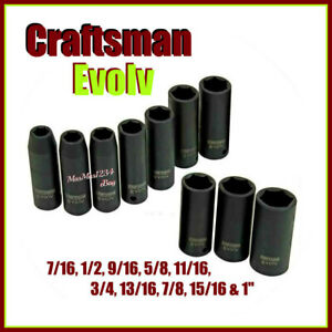 Craftsman Evolv Deep Impact Socket Set 1 2 In Drive 10 Pc Sae Fast Shipping
