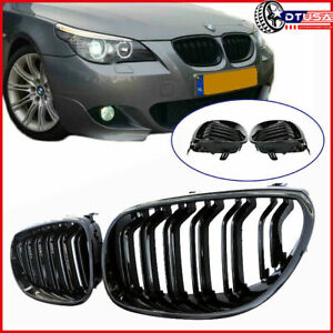 M5 Look Gloss Black Dual Fin Front Kidney Grill Grille For Bmw E60 61 2001 2010