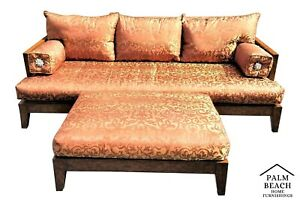 Xl Wonderful Marge Carson Asian Chinoiserie Brocade Solid Wood Sofa With Ottoman