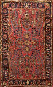 Antique Vegetable Dye Hand Knotted Floral Traditional Area Rug Wool Oriental 4x5