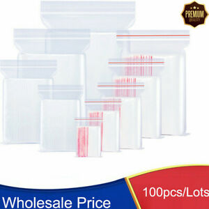 100 Bags Small Baggies Clear Reclosable Zip Zipper Lock T shirt Plastic Poly Bag