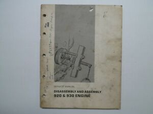 Cat Caterpillar 920 930 Engine Disassembly And Assembly Service Manual 1971