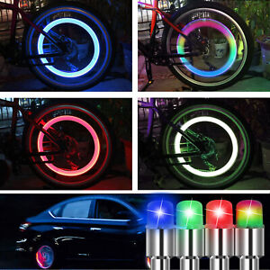 8pcs Led Wheels Tire Air Valve Stem Caps Blue Neon Light Lamp For Car Motor Bike
