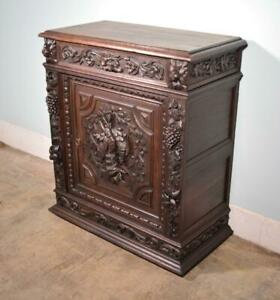 French Antique Black Forest Hunting Oak Sideboard Buffet With Deep Carvings