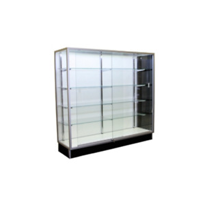 Aluminum Framed 70 Inch Tempered Glass Tower Display Showcase With Lock Led