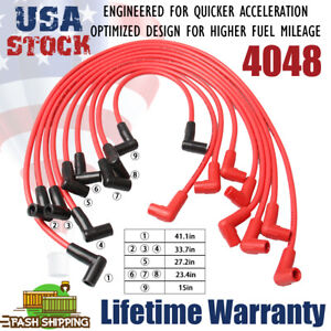4048 Red Spark Plugs Wires For Small Block Chevy 283 307 327 350 400 Hei Sbc 8mm