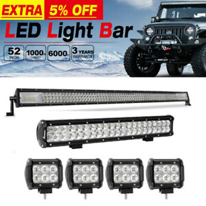 52 in 1000w Tri Row Combo Led Light Bar 22 inch 240w 4x 48w 4 Cube Pods