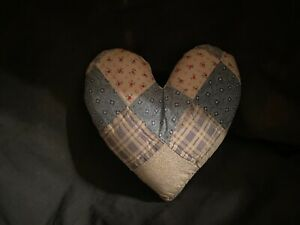 Primitive Quilted Heart Pillow Blue White With Red Flowers A
