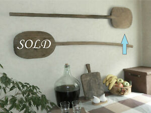 Pair 56 Oversized Antique 18c Bakery Dough Bread Wooden Board Pizza Peel Paddle