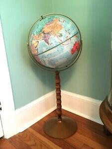 Vtg 12 Replogle Series World Nation Globe Dual Axis Floor Stand Clean