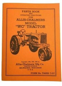 Allis Chalmers Unstyled Wc Parts And Operators Manual Form No T465d 7 37