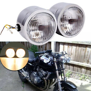 Chrome 4 5 Twin Headlight Motorcycle Double Dual Lamp Street Fighter Universal