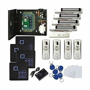 Tcp ip 4 Door Access Control System Metal Exit Button With Base rfid Keypad R
