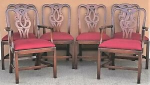 Vintage Baker Chippendale Solid Mahogany Dining Chairs Set Of 6