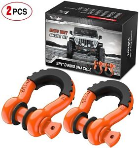 2pcs D Ring Orange Shackles 3 4 Heavy Duty Shackle With 7 8 Pin Max 9500 Lbs