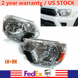 For 2012 15 Toyota Tacoma Pickup Chrome Headlights Assembly Headlamps Left right