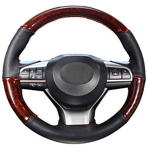 Wood Grain Diy Steering Wheel Cover For Car Trunk Lux Grip Syn Leather Hand Sew
