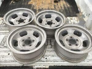 Old School Vintage Day2 Aluminum Slot 15 X 7 Wheels Rat Rod Gasser Set Of 4