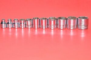 Snap on 3 8 Drive 11 Pc Shallow 6 point Sae Flank Drive 1 4 7 8 Socket Set