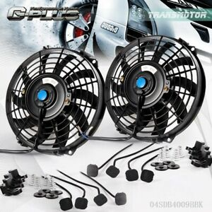 2pcs 9 Fit For Universal Slim Fan Push Pull Electric Radiator Cooling 12v 80w