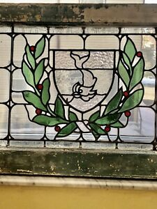 Antique Stained Glass Transom Window Festoon Wreath Dolphin Fish Shield Salvage