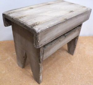 Child S Step Stool Foot Rustic Painted Pine Wood Wooden Stand Plant Stand Doll