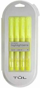 Tul Highlighter Chisel Tip Fluorescent Yellow Pack Of 4 Highlighters