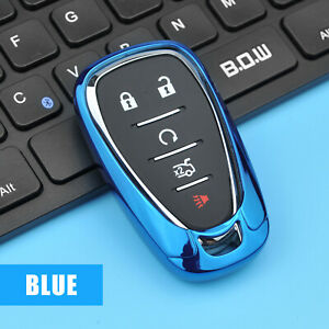 Blue Tpu Car Remote Key Case Cover For Chevrolet Cruze Malibu Camaro Blazer Trax