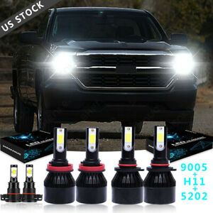 White For Chevrolet Silverado 1500 2015 2007 Led Headlight Fog Light Bulbs Kit