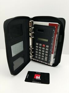 Mundex Zip 6 Ring Black Faux Leather Planner Organizer Calculator Wallet Tabbed