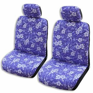 Purple Ulu Fruit Hawaiian Separate Headrest Car Seat Cover Set Of 2