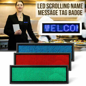 Led Digital Programmable Scrolling Message Name Sign Badge Tag Usb Rechargeable