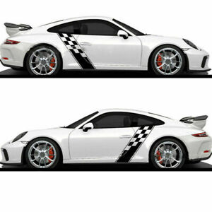 2x Racing Plaid Hood Side Door Fender Stripes Decal Stickers For Car Truck Suv