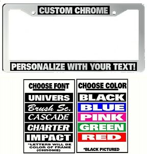 Chrome Frame Custom Plastic Personalized License Plate Frame Color Font Choice