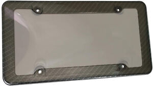 Carbon Fiber License Plate Tag Frame W Tinted Smoke License Shield Cover