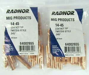Lot Of 50 Radnor Mig Products 64002655 14 45 Contact Tip 045 200608