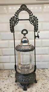 Gorgeous Antique Pressed Glass Pickle Castor Silver Plated Footed Ornate Holder