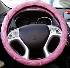 15 Pu Leather Crystals Auto Car Steering Wheel Cover Skidproof For Ladies Pink