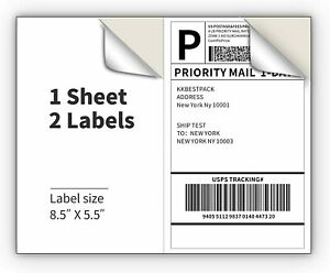 Shipping Labels 2 Per Sheet 8 5 X 11 For Laser And Inkjet Self Adhesive
