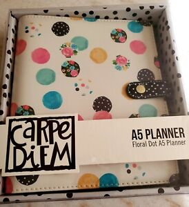 Carpe Diem A5 Planner Floral Dot 6 Ring Planner And Monthly Planner Inserts
