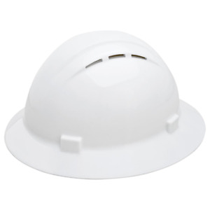 Americana Vent Full Brim Hard Hat 4 Point Nylon Suspension Mega Ratchet White