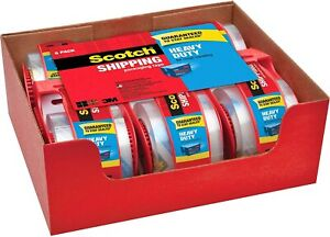 Scotch Clear Shipping Packing Tape 3m 1 88x800in 6 Rolls W Dispenser Heavy Duty