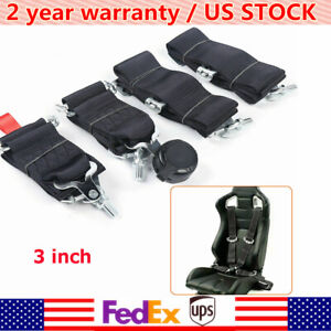 3 4 Black Point Racing Style Harness Safety Seat Belt 4pt Quick Release