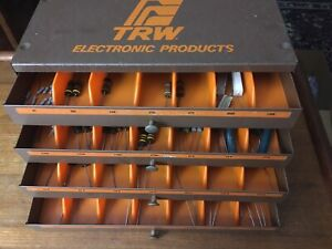 Vtg Trw 4 Drawer Metal Electronic Products Parts Cabinet With 50 Resistors