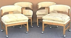 1980 S Mcm Bernhardt Flair Velvet Rolling Dining Gaming Chairs Set Of 4